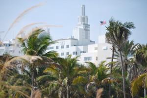 Miami Beach e bandiera americana